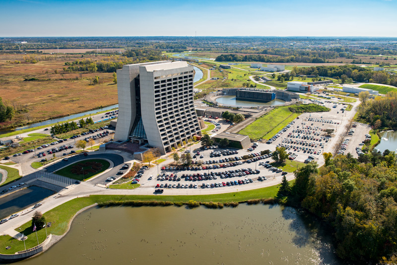 Aerial photo of Wilson Hall at Fermilab
