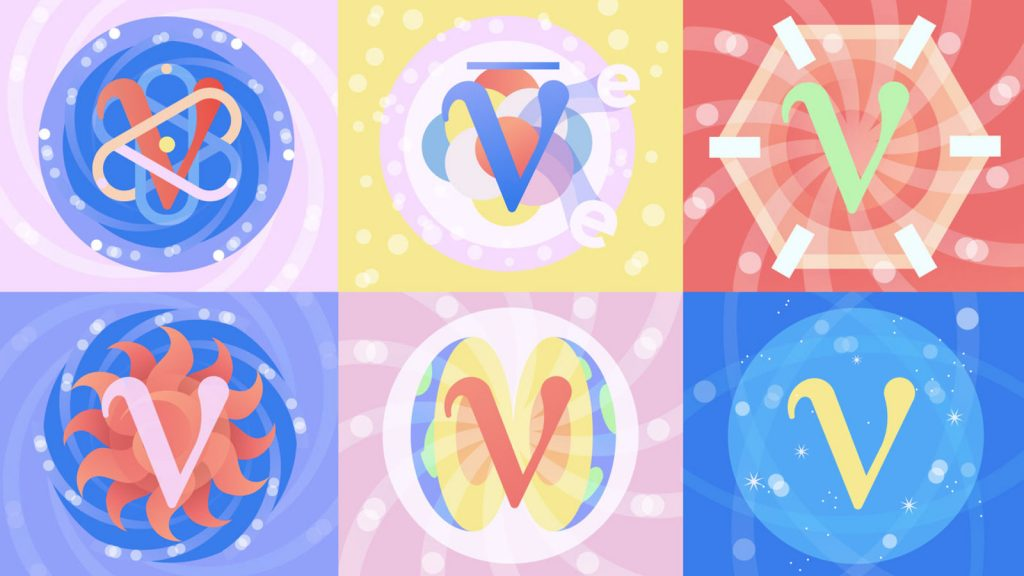 Graphic featuring six different kinds of neutrinos