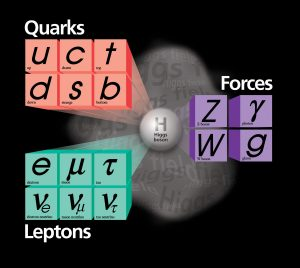 Graphic showing the relationship of quarks, leptons, and forces to the Higgs boson