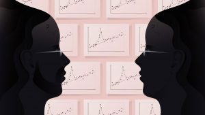 Illustration: two faces and statistical plots in the background