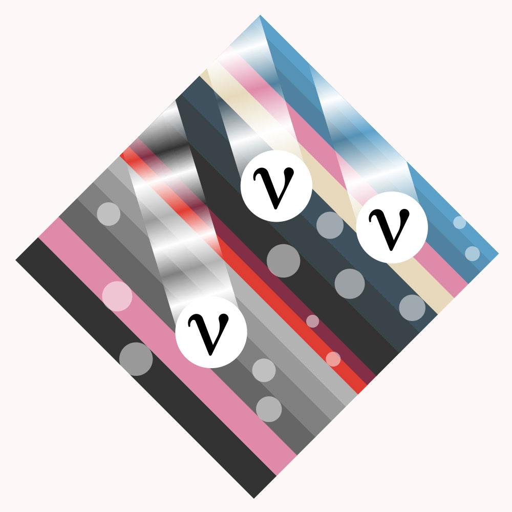 neutrinos leaving trails through a striped square