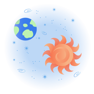 Graphic of sun and earth and stars